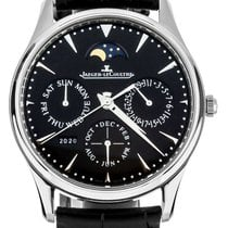 Jaeger-LeCoultre Master Ultra Thin Perpetual pre-owned 39mm Black Moon phase Perpetual calendar Crocodile skin