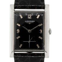 Longines White gold Manual winding Black 25mm pre-owned