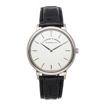 A. Lange & Söhne White gold Manual winding Silver No numerals 40mm pre-owned Saxonia