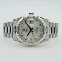 Rolex Day-Date Platina 36mm Silver Inga siffror