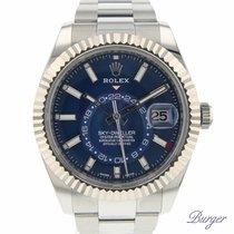 Rolex Sky-Dweller Or/Acier 42mm Bleu Sans chiffres