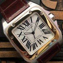 Cartier Santos 100 Zlato/Zeljezo 38mm Bjel Rimski brojevi