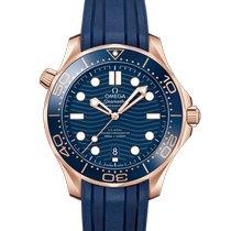 Omega Or rose Remontage automatique Bleu Sans chiffres 42mm nouveau Seamaster Diver 300 M