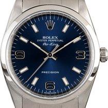 Rolex Air King Precision Acier 34mm Bleu Sans chiffres
