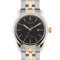 Tudor Glamour Date pre-owned 31mm Black Gold/Steel