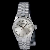Rolex Oyster Perpetual Lady Date Gold/Steel 26mm Silver No numerals