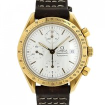 Omega Yellow gold Automatic White 39mm pre-owned Speedmaster Date