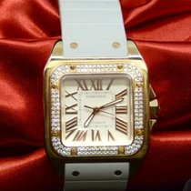 Cartier Yellow gold Automatic White Roman numerals 33mm pre-owned Santos 100