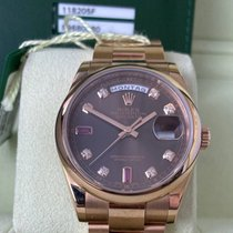 Rolex Day-Date 36 Or rose 36mm Brun Romains