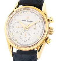 Universal Genève Yellow gold Manual winding Silver 35mm pre-owned Compax