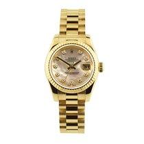 Rolex Lady-Datejust Or jaune 26mm Nacre Sans chiffres