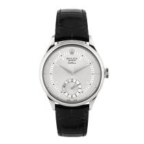 Rolex Cellini Dual Time Oro blanco 39mm Plata Sin cifras