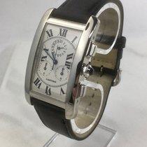Cartier Tank Américaine gebraucht 26mm Weiß Chronograph Datum Leder