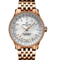 Breitling Red gold Automatic Mother of pearl 35mm new Navitimer