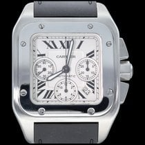 Cartier Santos 100 używany 41mm Biały Chronograf Data Kauczuk