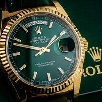Rolex Day-Date 36 occasion 36mm Vert Date Affichage des jours Cuir