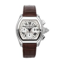 Cartier Roadster Steel 47.6mm Silver Roman numerals