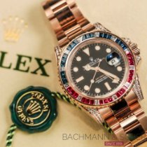 Rolex Red gold Automatic Black No numerals 40mm pre-owned GMT-Master II