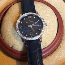 Blancpain Villeret Ultraflach gebraucht 29mm Blau Datum Krokodilleder