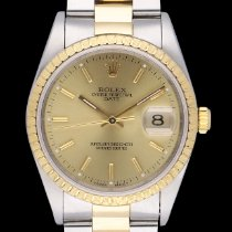 Rolex Oyster Perpetual Date Or/Acier 34mm Champagne Sans chiffres