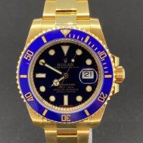 Rolex Submariner Date Жёлтое золото 40mm Синий Без цифр