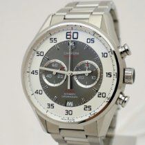 TAG Heuer Carrera Calibre 36 gebraucht 43mm Grau Chronograph Flyback-Funktion Datum Stahl