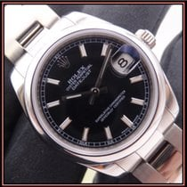 Rolex Lady-Datejust Stal 31mm Czarny Bez cyfr