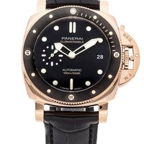 Panerai Red gold Automatic Black 42mm new Luminor Submersible