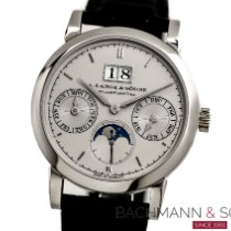 A. Lange & Söhne Platinum Automatic Silver No numerals 38.5mm pre-owned Saxonia