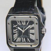 Cartier Santos 100 Сталь 33mm Чёрный Римские