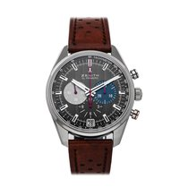 Zenith El Primero 36'000 VpH pre-owned 42mm Grey Chronograph Date Tachymeter Leather