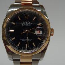 Rolex Datejust Ouro/Aço 36mm Preto