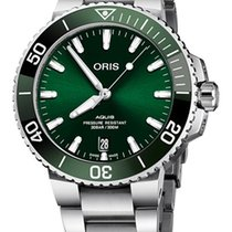 Oris Steel Automatic Green No numerals 39.5mm new Aquis Date