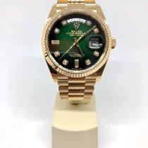 Rolex Day-Date 36 Geelgoud 36mm Groen Geen cijfers Nederland, Rotterdam