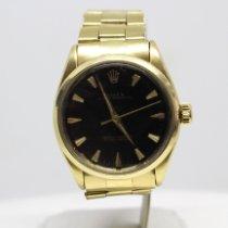 Rolex Oyster Perpetual Žluté zlato 34mm Černá Bez čísel