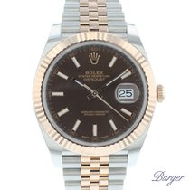 Rolex Datejust II Gold/Steel 41mm Brown Roman numerals