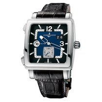 Ulysse Nardin Quadrato Dual Time подержанные 42mm Синий Дата GMT/две час.зоны Кожа аллигатора