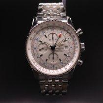 Breitling Navitimer World gebraucht 46mm Silber Chronograph Datum GMT/Zweite Zeitzone Stahl