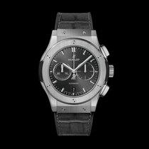 Hublot Classic Fusion Chronograph gebraucht 42mm Grau Chronograph Datum Leder