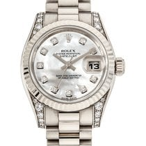 Rolex Lady-Datejust Bjelo zlato 26mm Srebro Bez brojeva