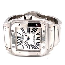 Cartier Santos 100 pre-owned 38mm White Steel
