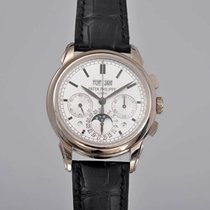 Patek Philippe White gold Manual winding Silver 41mm pre-owned Perpetual Calendar Chronograph