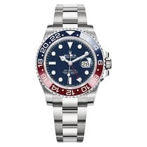 Rolex White gold Automatic Blue No numerals 40mm pre-owned GMT-Master II