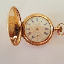 Waltham Vintage Waltham Pocket Watch, Gold Filled, Working, Pristine, 1907, 15 Jewel, Beautiful Engraving, White Face, Blue Roman Numerals 1907 usados