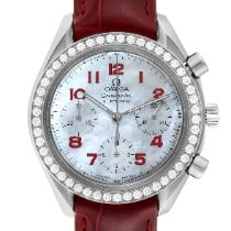 Omega Speedmaster Ladies Chronograph occasion 35.5mm Nacre Chronographe Cuir