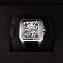 Cartier Палладий Механические Прозрачный Без цифр 41mm подержанные Santos 100