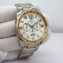 Cartier Calibre de Cartier Chronograph Gold/Stahl 42mm Silber Römisch