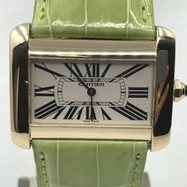 Cartier Yellow gold Automatic Champagne Roman numerals 38mm pre-owned Tank Divan