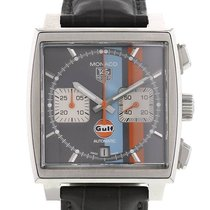 TAG Heuer Monaco occasion 39mm Gris Chronographe Date Cuir