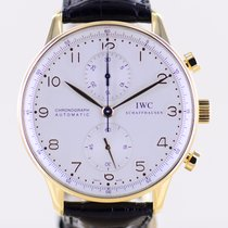 IWC Yellow gold Automatic Silver Arabic numerals 41mm pre-owned Portuguese Chronograph